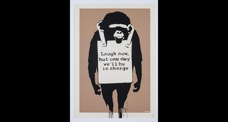 Banksy tentoonstelling: aapjes kijken uit de kunst